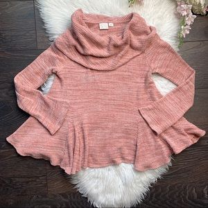Anthropologie Postmark Waffle Knit Cowl Neck Top